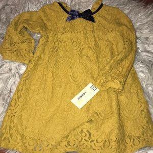 Girls Mustard Lace Dress Size 4T